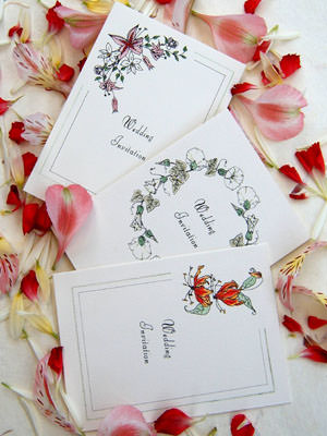 hand tinted floral design wedding stationery
